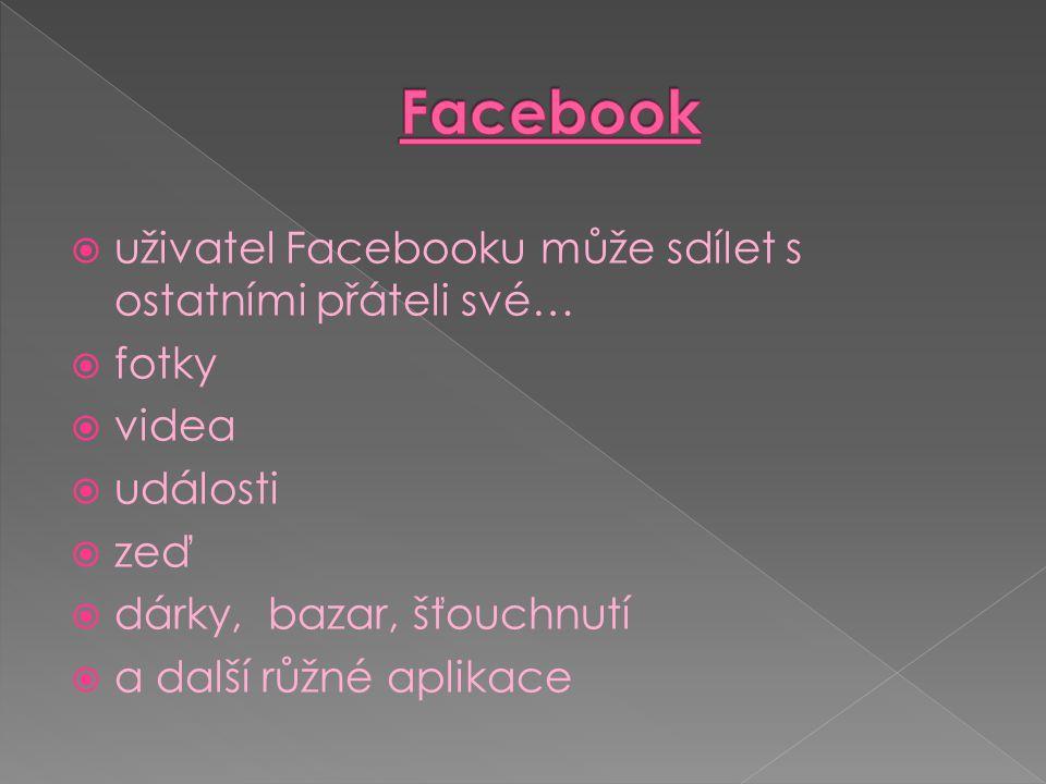 Facebook uživatel Facebooku může sdílet s ostatními přáteli své… fotky