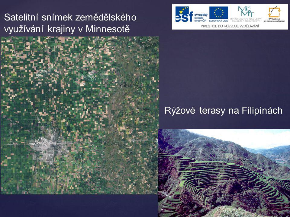 Satelitní snímek zemědělského využívání krajiny v Minnesotě