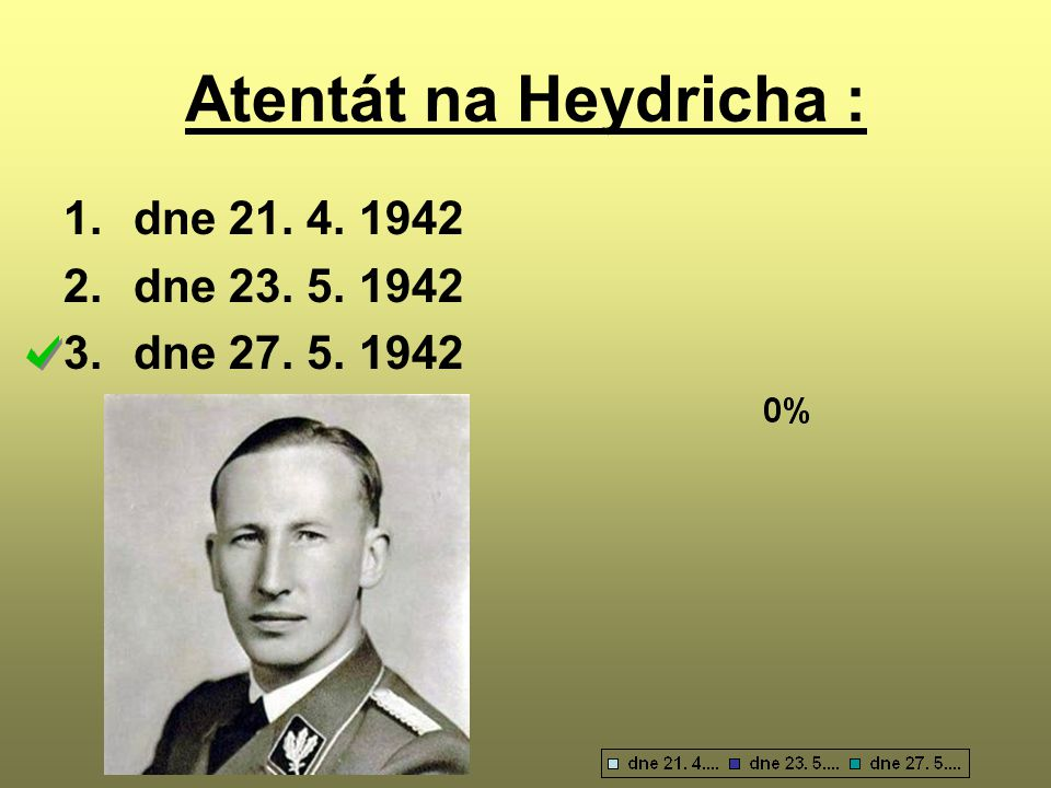 Atentát na Heydricha : dne 21. 4. 1942 dne 23. 5. 1942 dne 27. 5. 1942