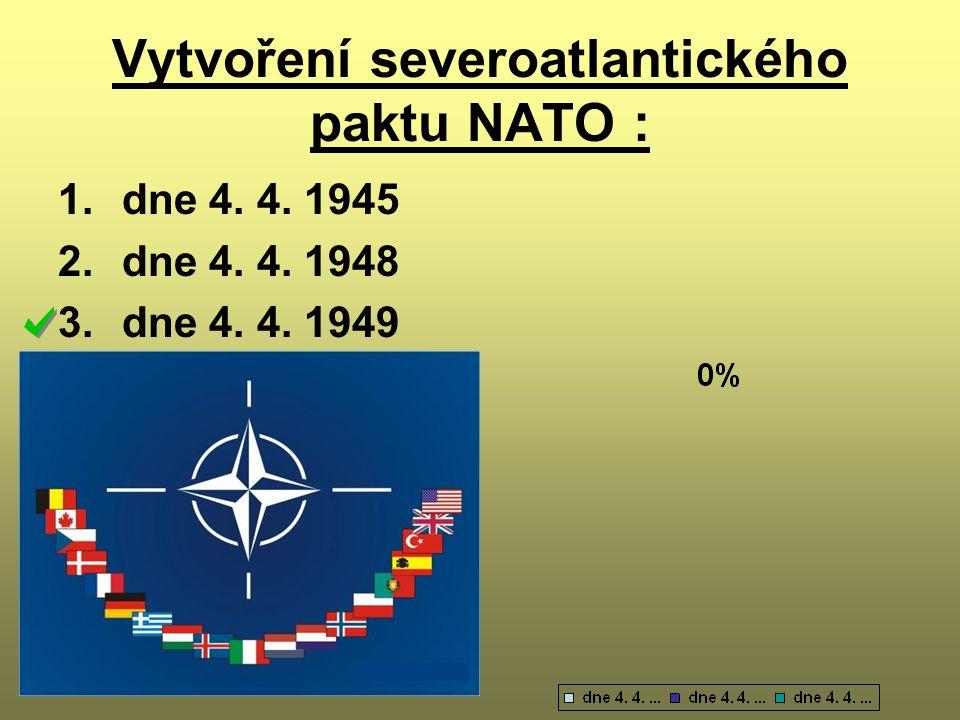 Vytvoření severoatlantického paktu NATO :