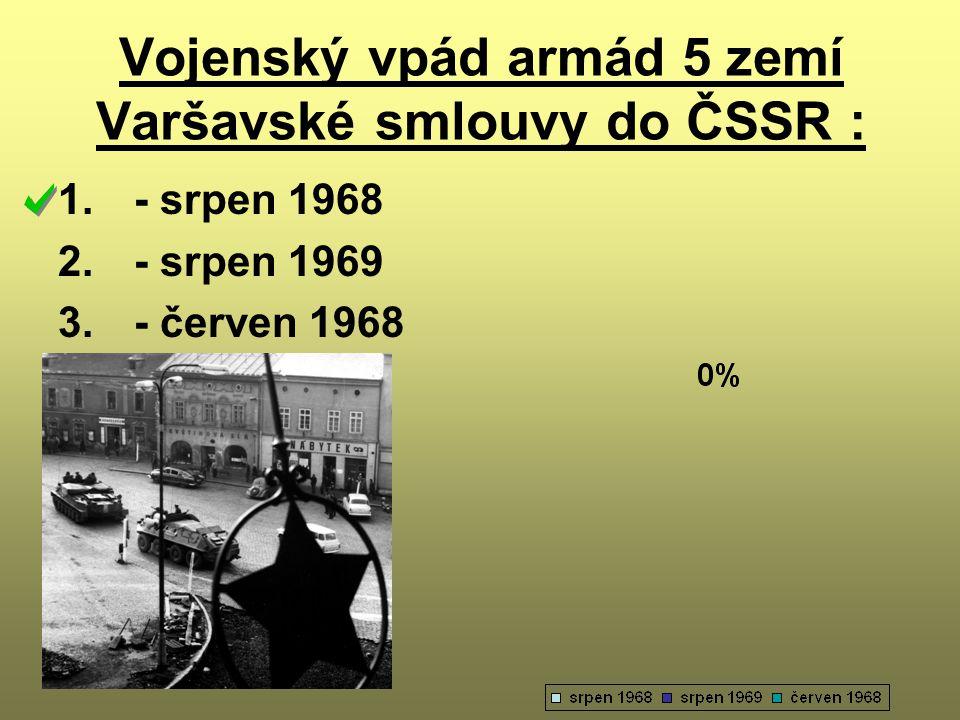 Vojenský vpád armád 5 zemí Varšavské smlouvy do ČSSR :