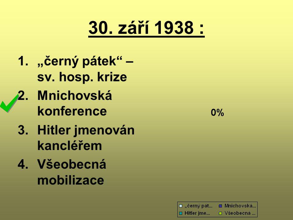 """30. září 1938 : """"černý pátek – sv. hosp. krize Mnichovská konference"""