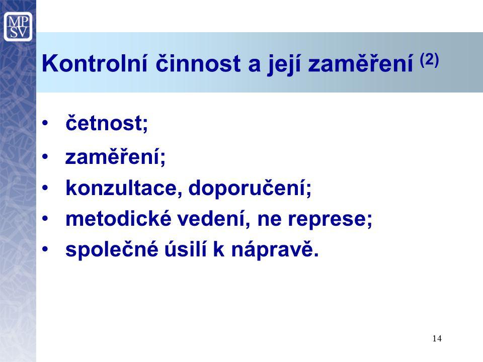Kontrolní činnost a její zaměření (2)