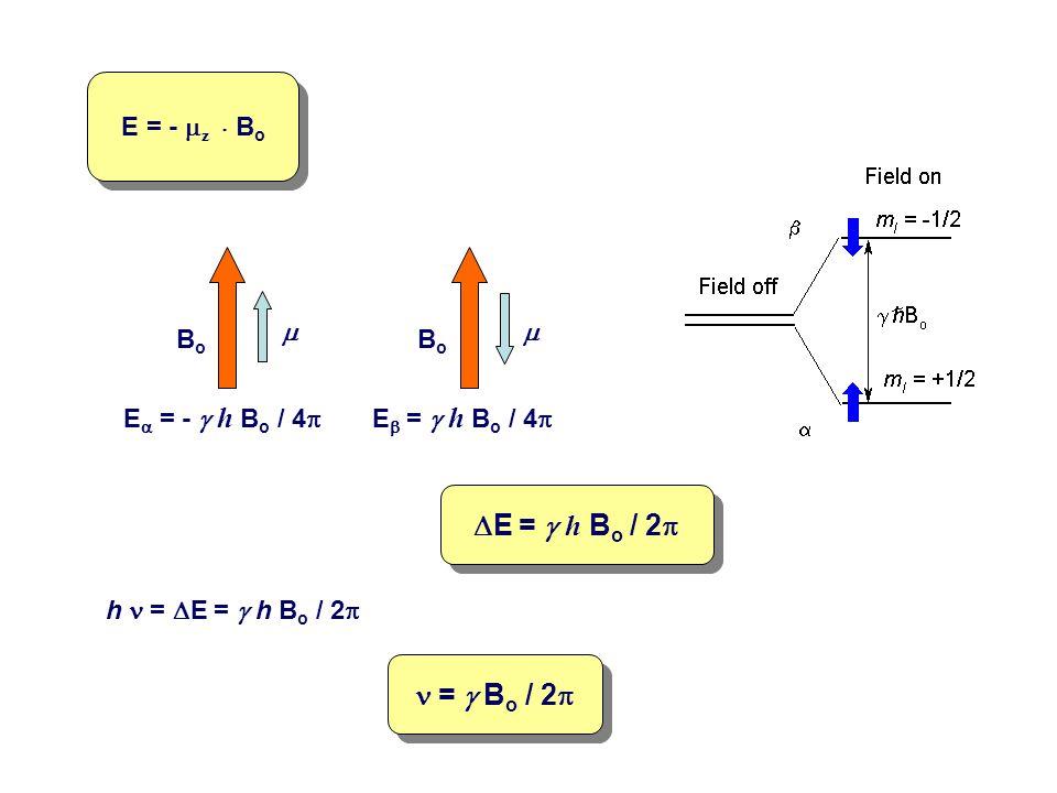 DE = g h Bo / 2p n = g Bo / 2p E = - mz . Bo Bo m Ea = - g h Bo / 4p