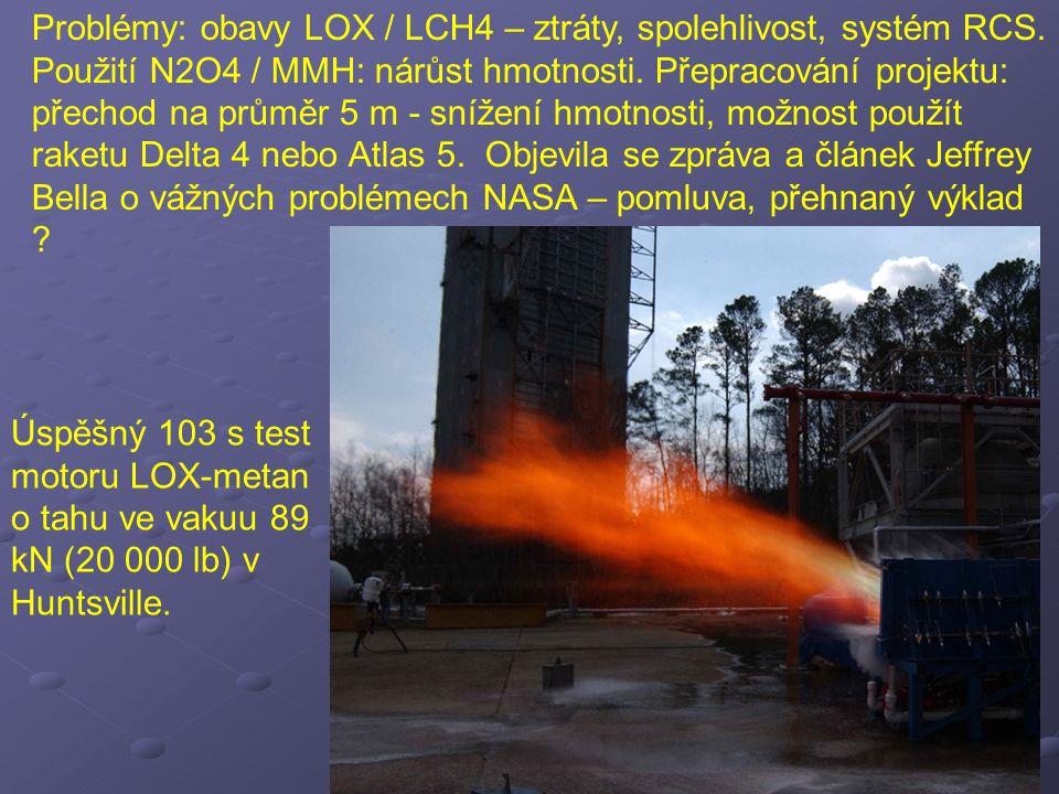 Problémy: obavy LOX / LCH4 – ztráty, spolehlivost, systém RCS