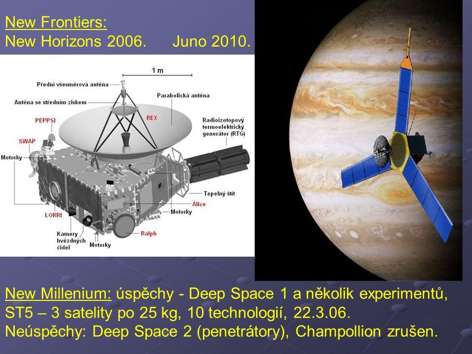 New Frontiers: New Horizons 2006. Juno 2010.