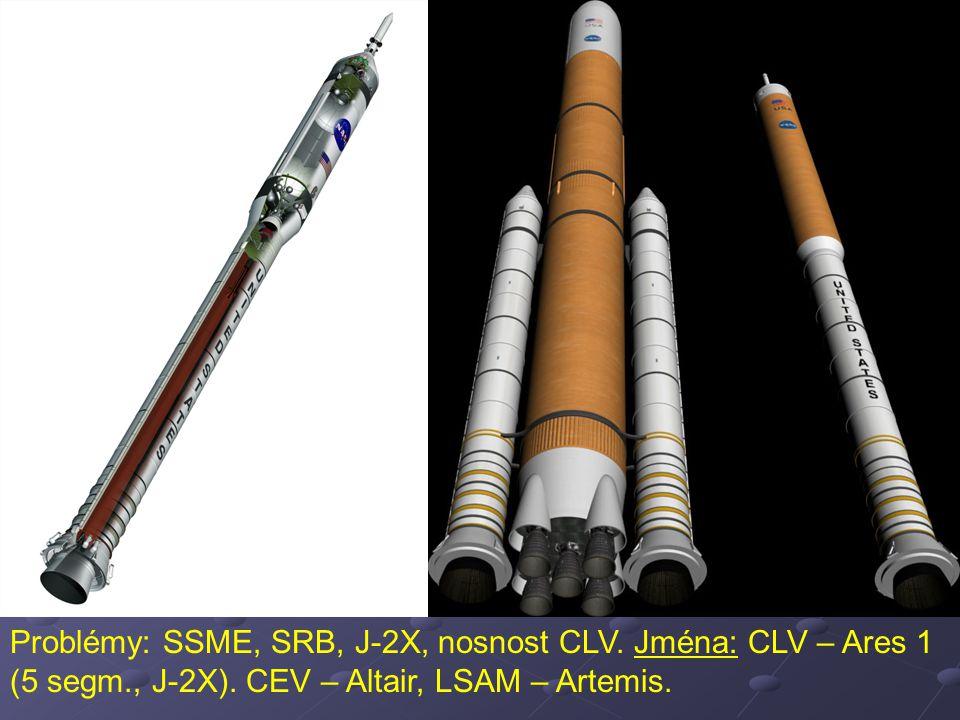 Problémy: SSME, SRB, J-2X, nosnost CLV. Jména: CLV – Ares 1 (5 segm