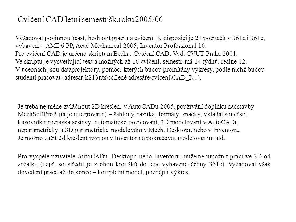 Cvičení CAD letní semestr šk.roku 2005/06