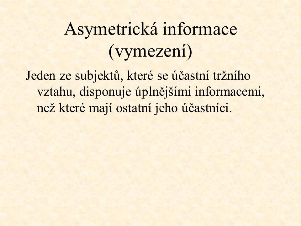 Asymetrická informace (vymezení)