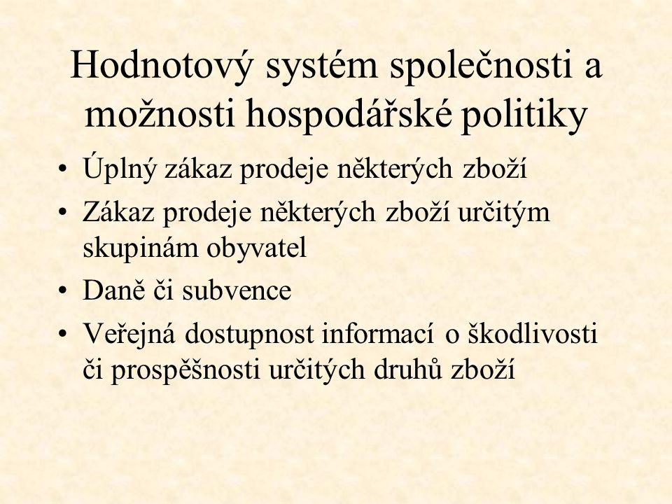 Hodnotový systém společnosti a možnosti hospodářské politiky