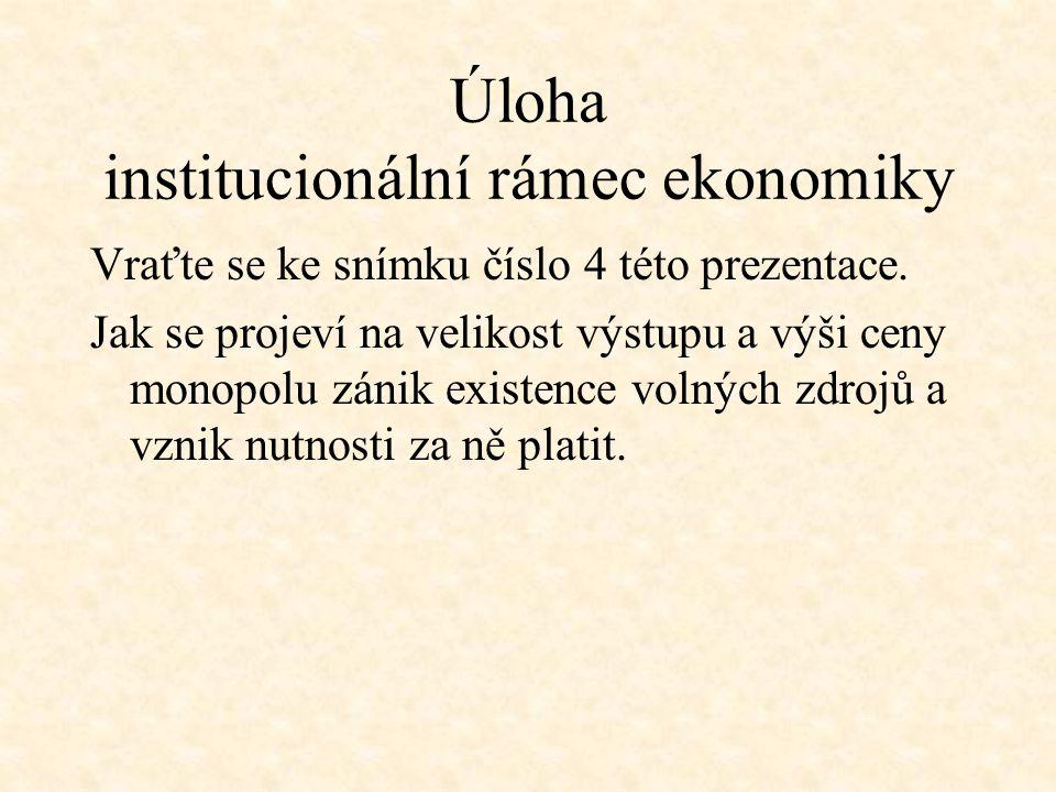 Úloha institucionální rámec ekonomiky