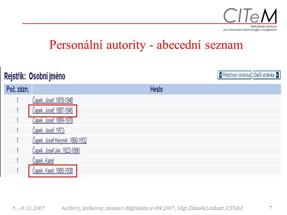 Personální autority - abecední seznam