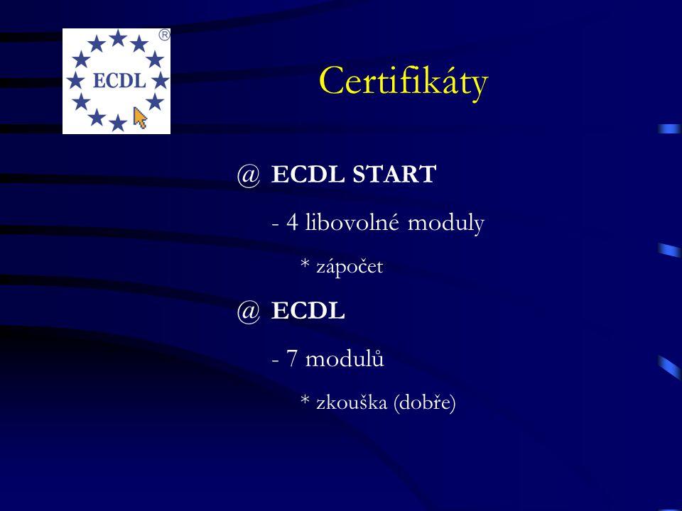 Certifikáty ECDL START - 4 libovolné moduly ECDL - 7 modulů * zápočet