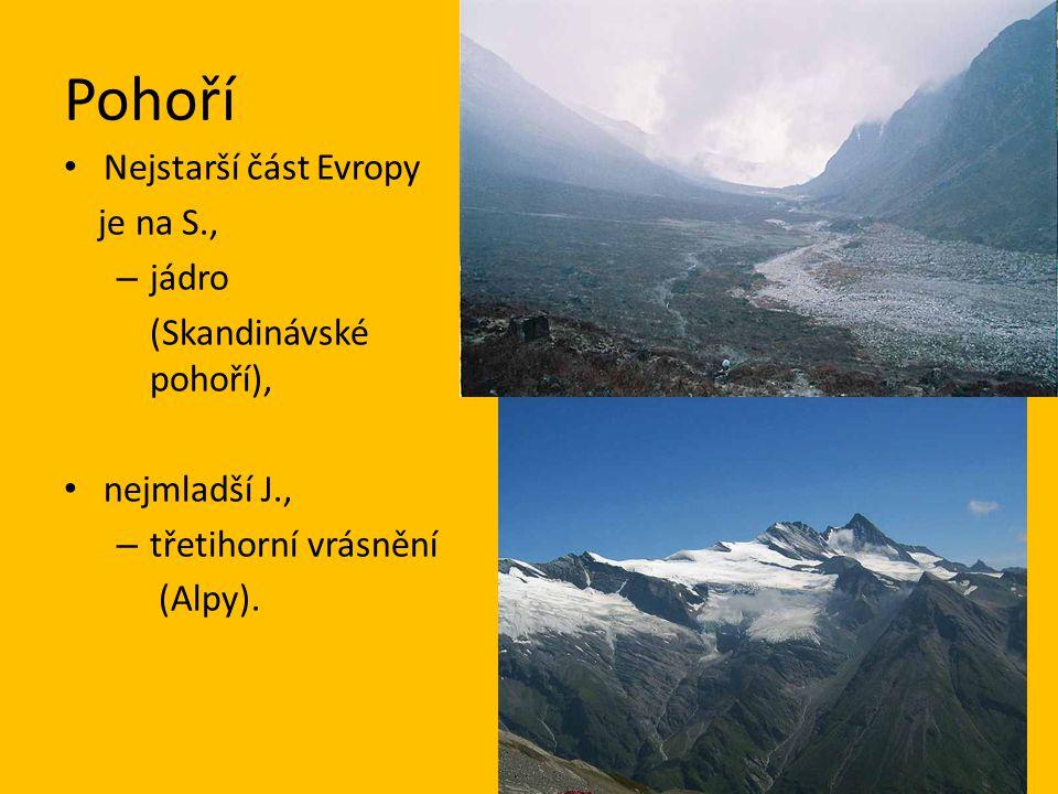 Pohoří Nejstarší část Evropy je na S., jádro (Skandinávské pohoří),