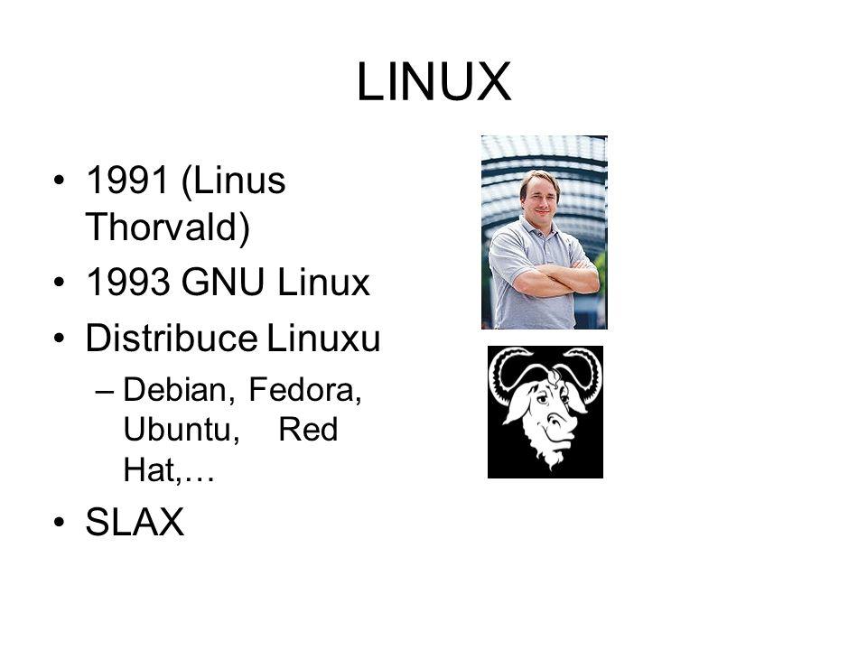 LINUX 1991 (Linus Thorvald) 1993 GNU Linux Distribuce Linuxu SLAX