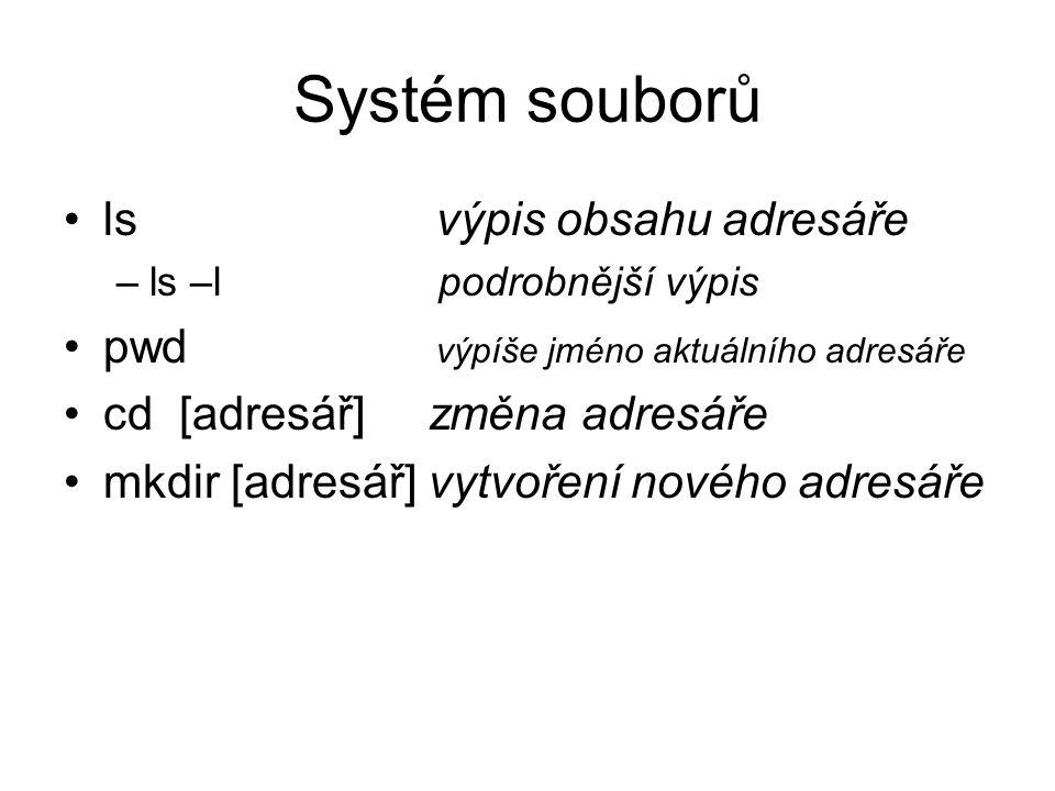 Systém souborů ls výpis obsahu adresáře
