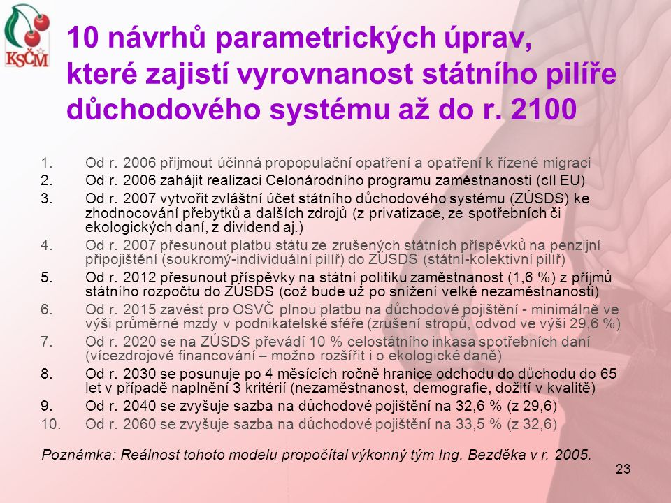 10 návrhů parametrických úprav, které zajistí vyrovnanost státního pilíře důchodového systému až do r. 2100