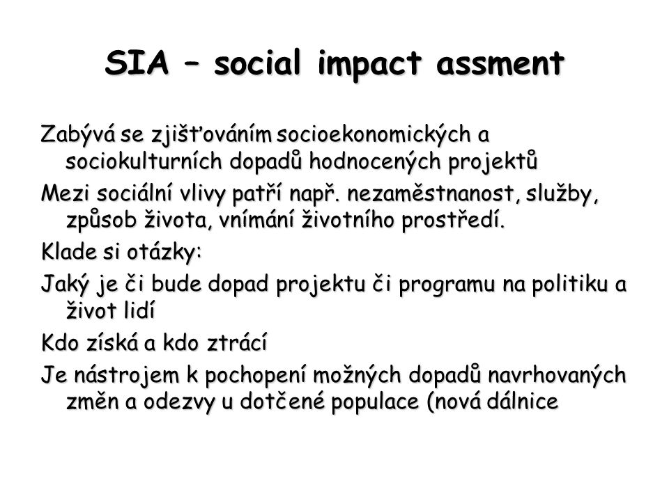 SIA – social impact assment