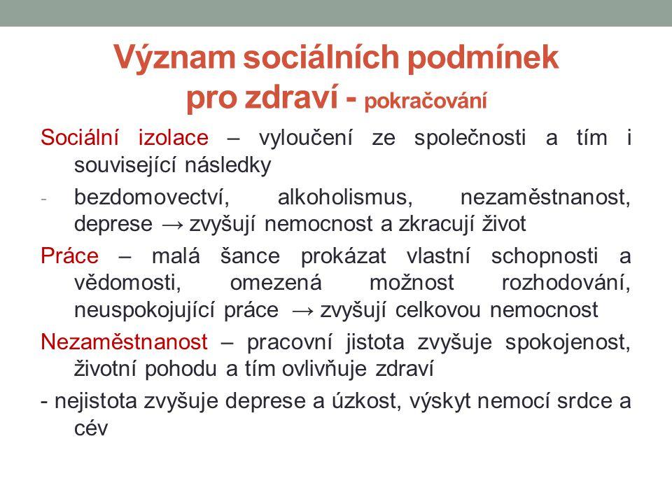 Význam sociálních podmínek pro zdraví - pokračování