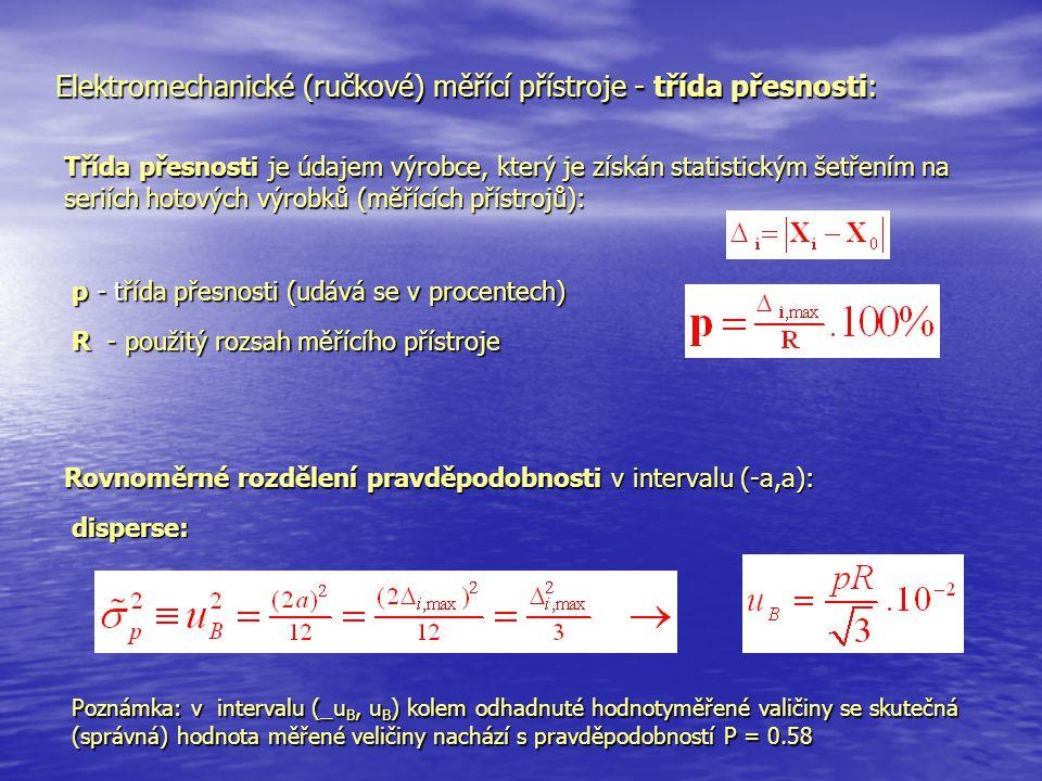 Elektromechanické (ručkové) měřící přístroje - třída přesnosti: