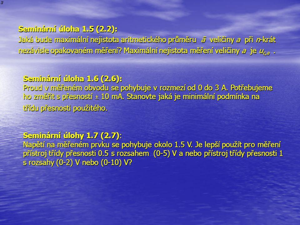 Seminární úloha 1.5 (2.2): Jaká bude maximální nejistota aritmetického průměru ā veličiny a při n-krát.