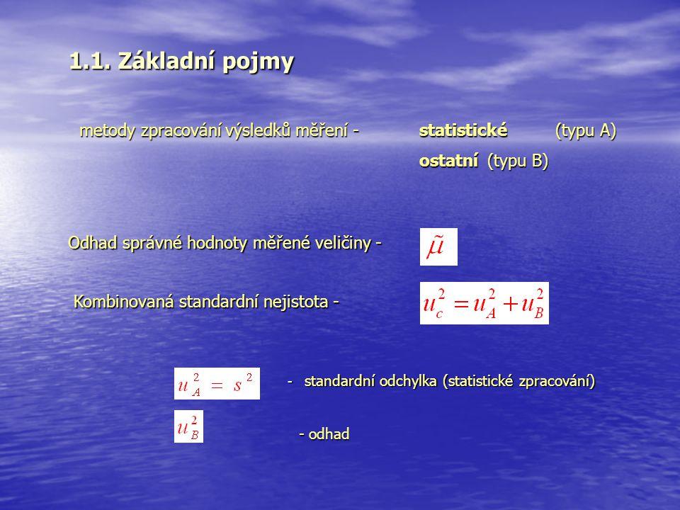 1.1. Základní pojmy metody zpracování výsledků měření - statistické (typu A) ostatní (typu B) Odhad správné hodnoty měřené veličiny -