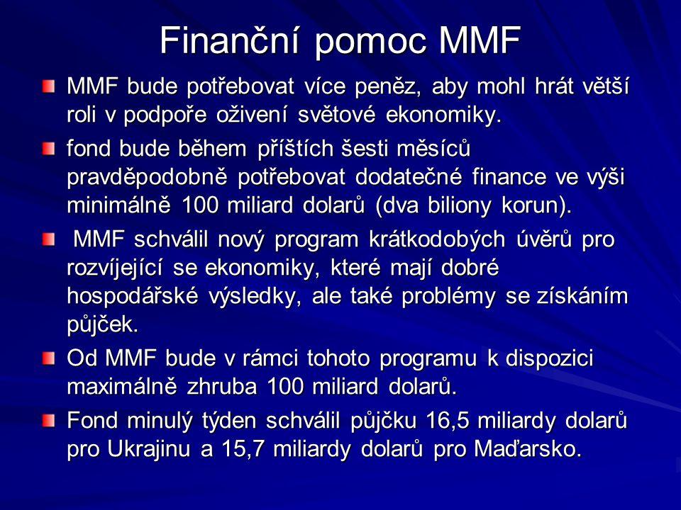 Finanční pomoc MMF MMF bude potřebovat více peněz, aby mohl hrát větší roli v podpoře oživení světové ekonomiky.