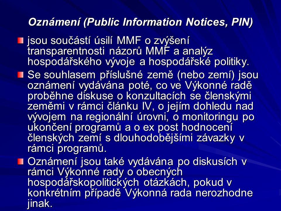 Oznámení (Public Information Notices, PIN)