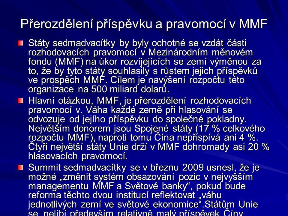 Přerozdělení příspěvku a pravomocí v MMF