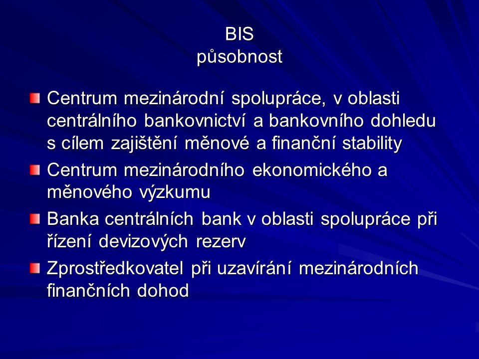 BIS působnost Centrum mezinárodní spolupráce, v oblasti centrálního bankovnictví a bankovního dohledu s cílem zajištění měnové a finanční stability.