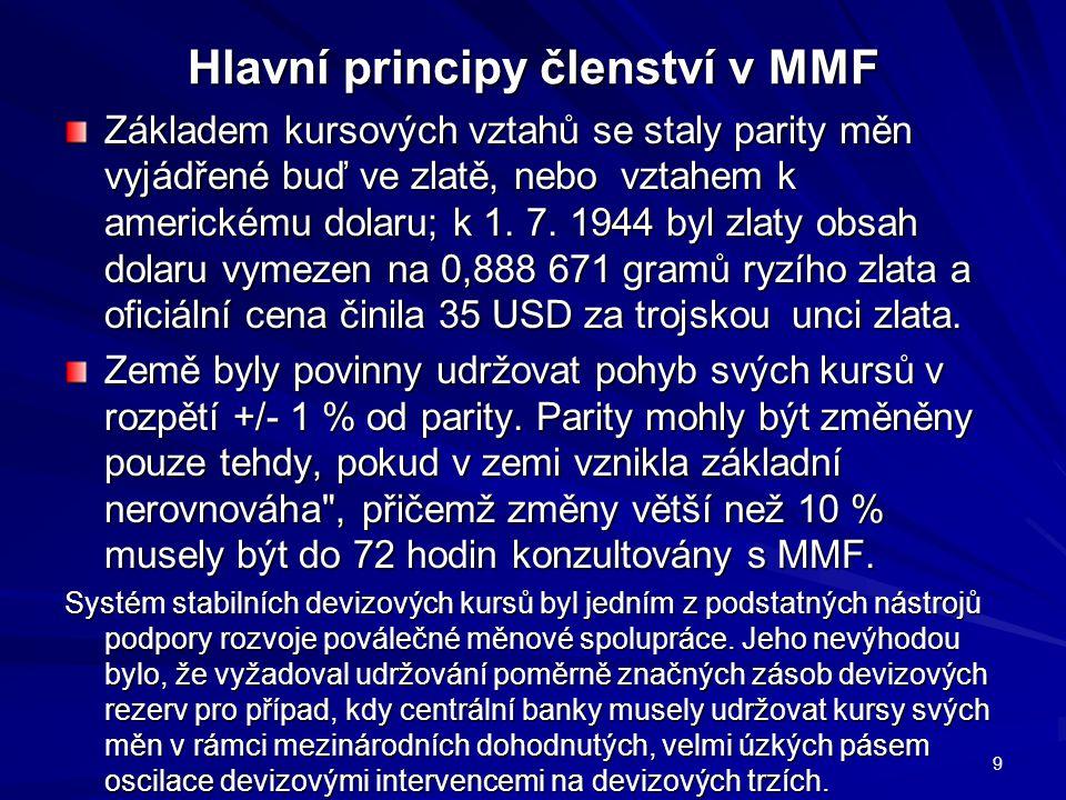 Hlavní principy členství v MMF