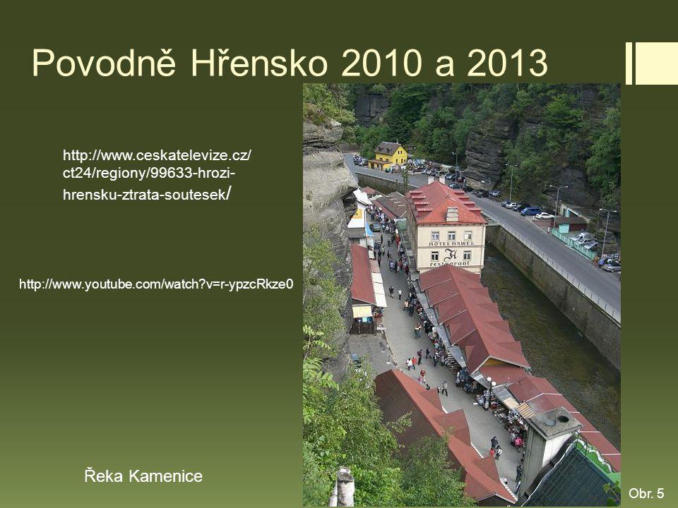 Povodně Hřensko 2010 a 2013 Řeka Kamenice