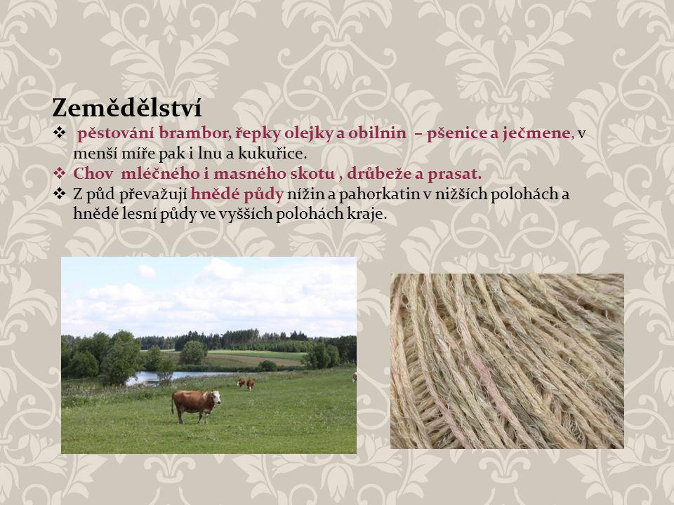 Zemědělství pěstování brambor, řepky olejky a obilnin – pšenice a ječmene, v menší míře pak i lnu a kukuřice.