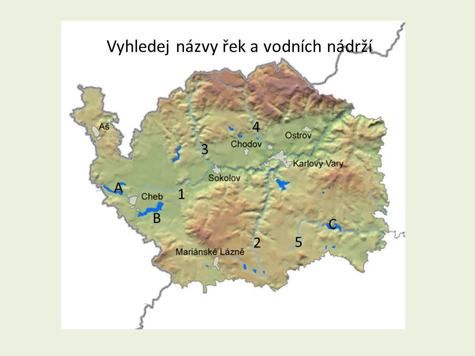 Vyhledej názvy řek a vodních nádrží