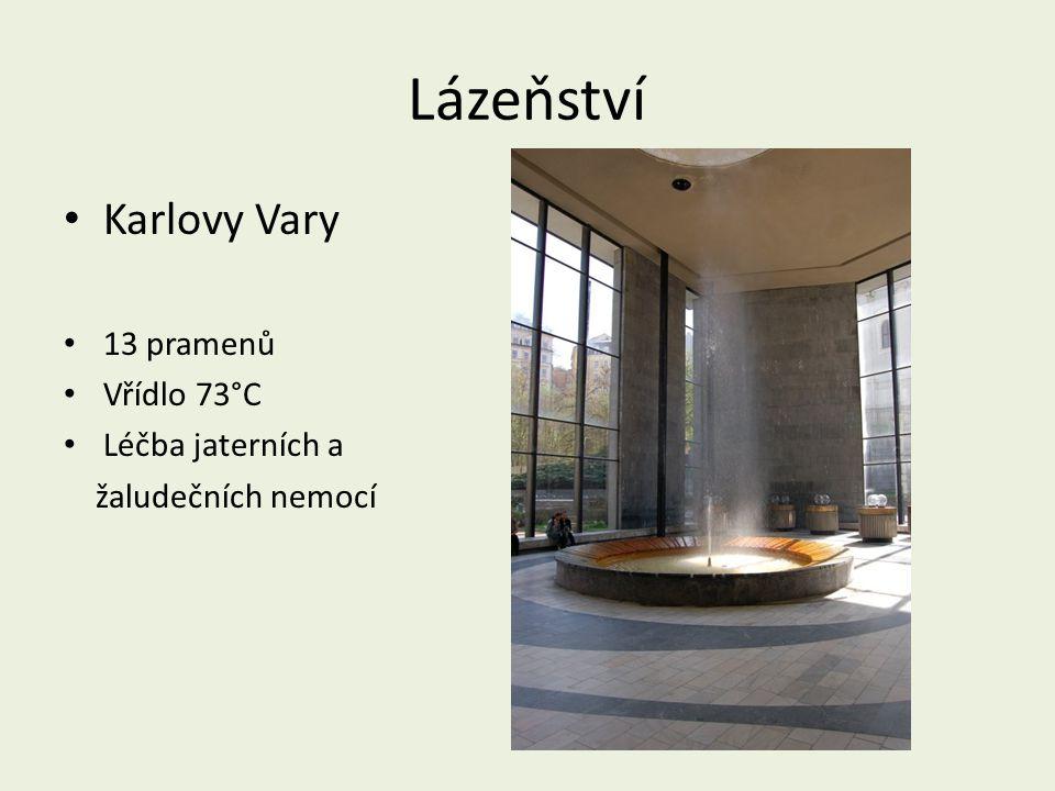 Lázeňství Karlovy Vary 13 pramenů Vřídlo 73°C Léčba jaterních a