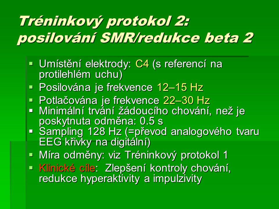 Tréninkový protokol 2: posilování SMR/redukce beta 2