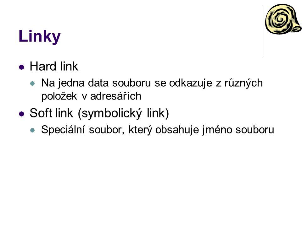 Linky Hard link Soft link (symbolický link)