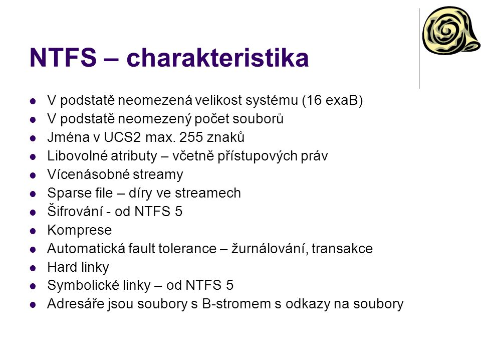 NTFS – charakteristika