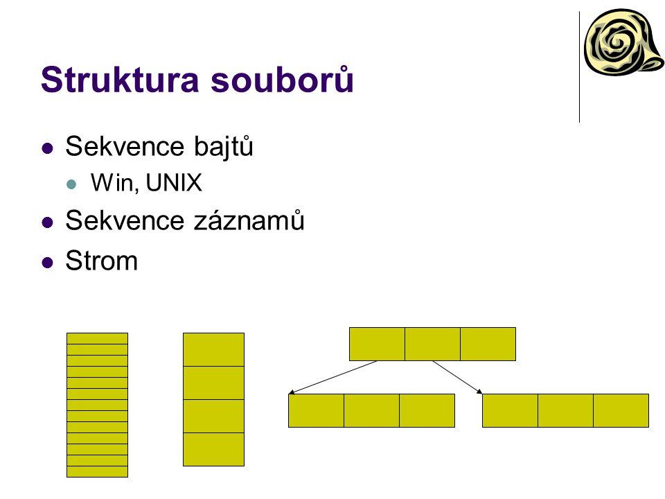 Struktura souborů Sekvence bajtů Win, UNIX Sekvence záznamů Strom