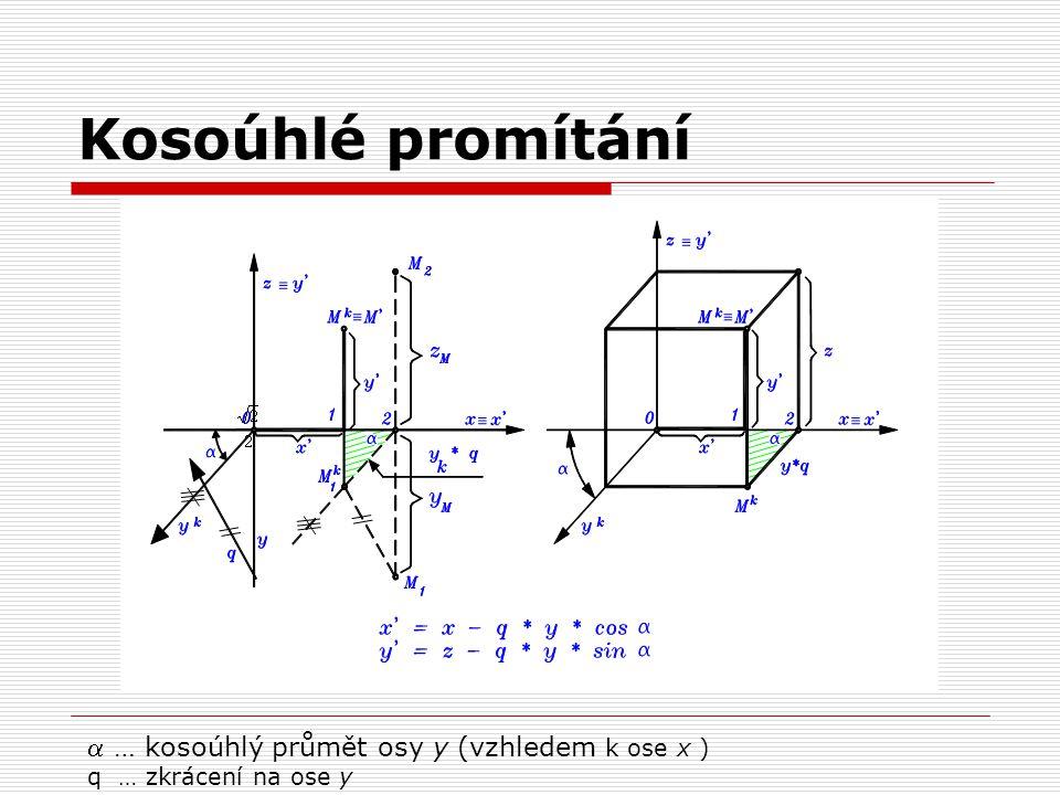 Kosoúhlé promítání  … kosoúhlý průmět osy y (vzhledem k ose x )