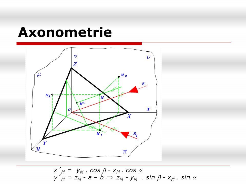 Axonometrie x´M = yM . cos  - xM . cos 
