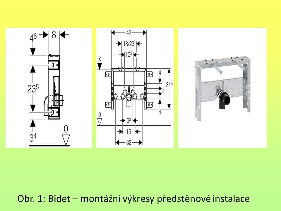 Obr. 1: Bidet – montážní výkresy předstěnové instalace