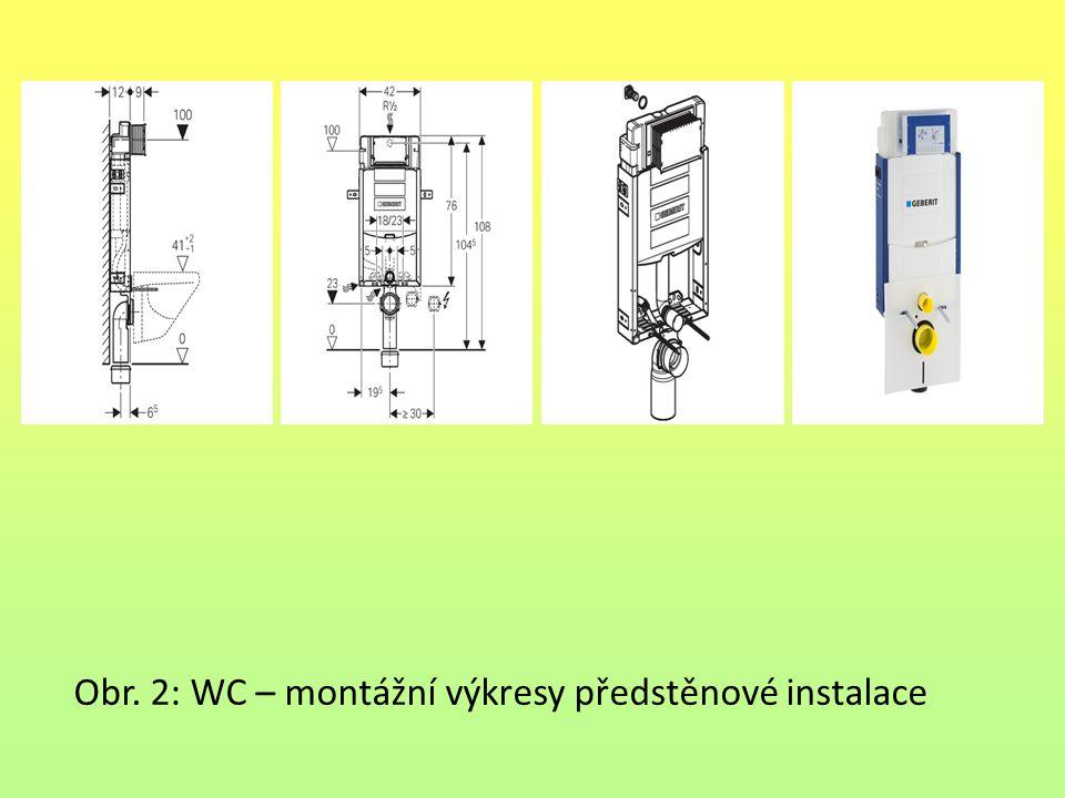 Obr. 2: WC – montážní výkresy předstěnové instalace