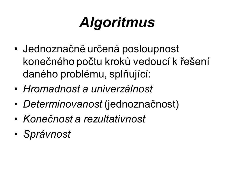Algoritmus Jednoznačně určená posloupnost konečného počtu kroků vedoucí k řešení daného problému, splňující: