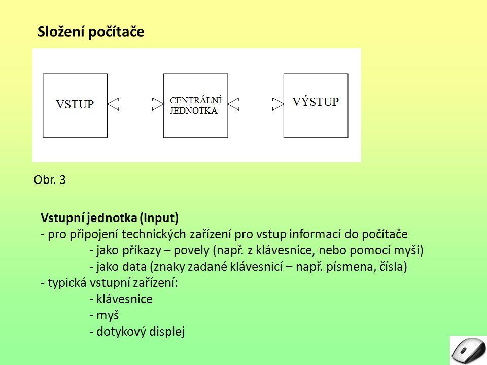 Složení počítače Obr. 3 Vstupní jednotka (Input)