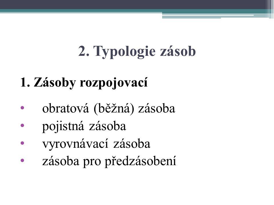 2. Typologie zásob 1. Zásoby rozpojovací obratová (běžná) zásoba