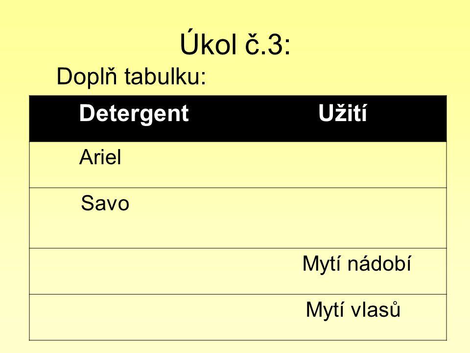 Úkol č.3: Doplň tabulku: Detergent Užití Ariel Savo Mytí nádobí