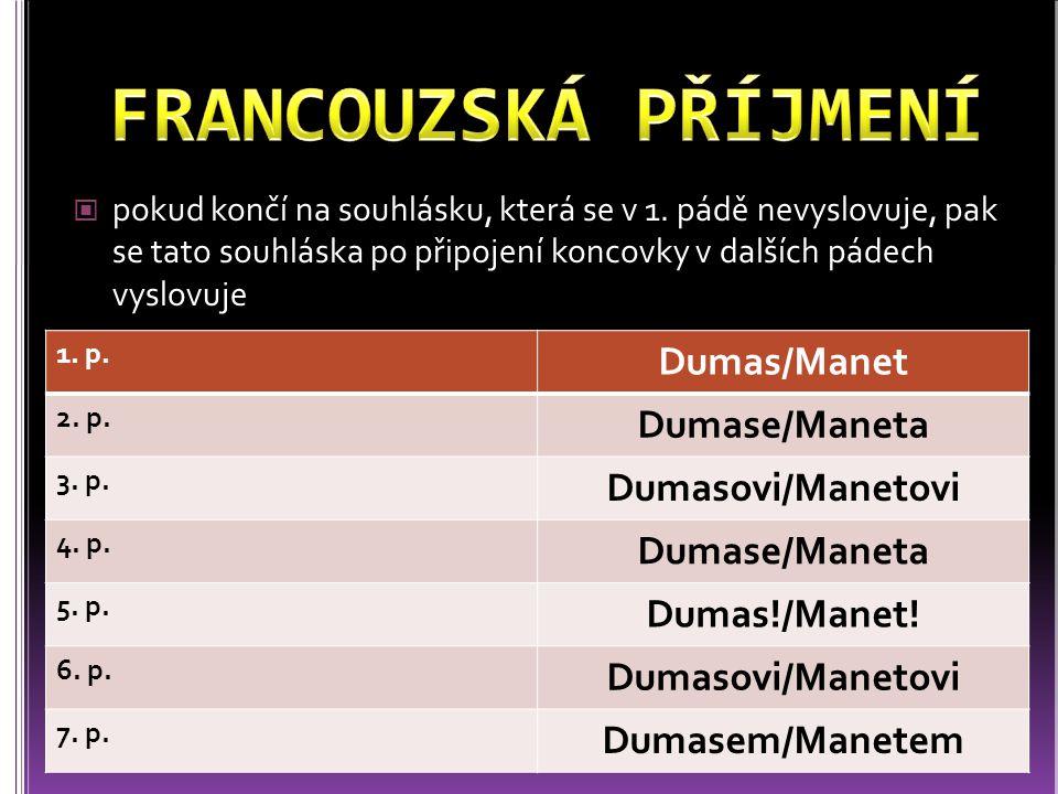 FRANCOUZSKÁ PŘÍJMENÍ Dumas/Manet Dumase/Maneta Dumasovi/Manetovi