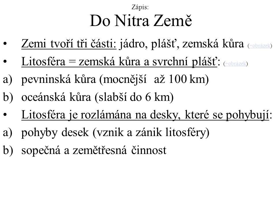 Zápis: Do Nitra Země. Zemi tvoří tři části: jádro, plášť, zemská kůra (+obrázek) Litosféra = zemská kůra a svrchní plášť: (+obrázek)