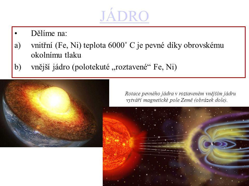 """JÁDRO Dělíme na: vnitřní (Fe, Ni) teplota 6000˚ C je pevné díky obrovskému okolnímu tlaku. vnější jádro (polotekuté """"roztavené Fe, Ni)"""